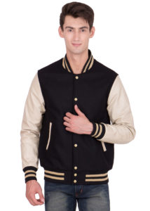 VEGAS GOLD LEATHER SLEEVES & BLACK WOOL BODY VARSITY JACKET-MEN