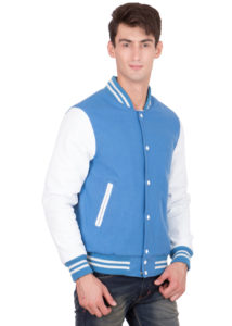 WHITE LEATHER SLEEVES & SKY BLUE WOOL BODY VARSITY JACKET-MEN