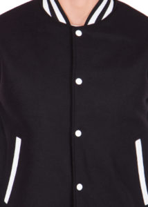WHITE LEATHER SLEEVES & BLACK WOOL BODY VARSITY JACKET-MEN