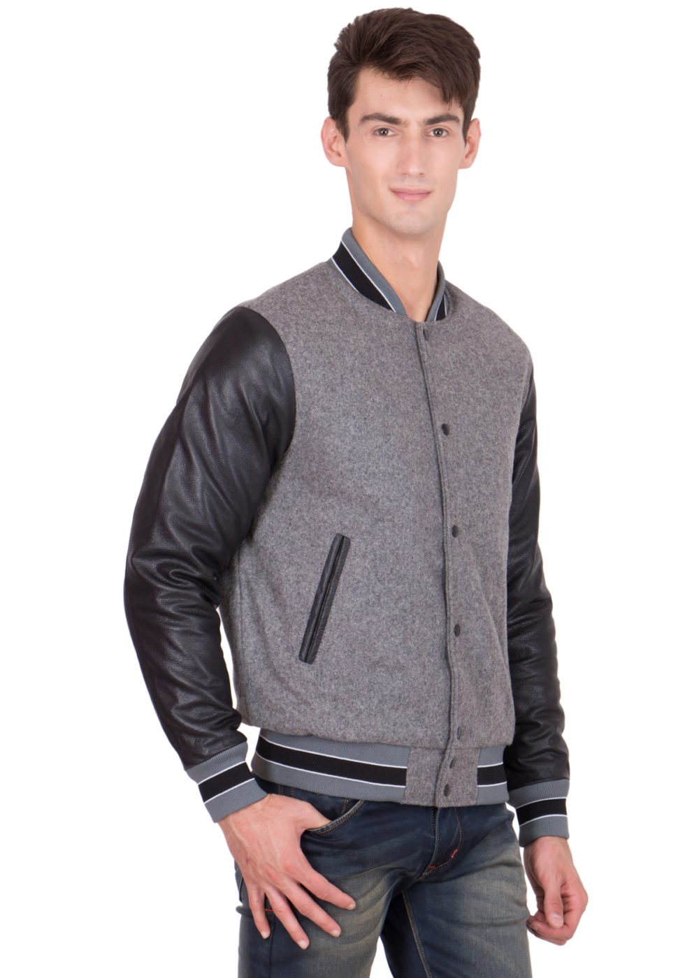 BLACK LEATHER SLEEVES & GREY WOOL BODY VARSITY JACKET-MEN