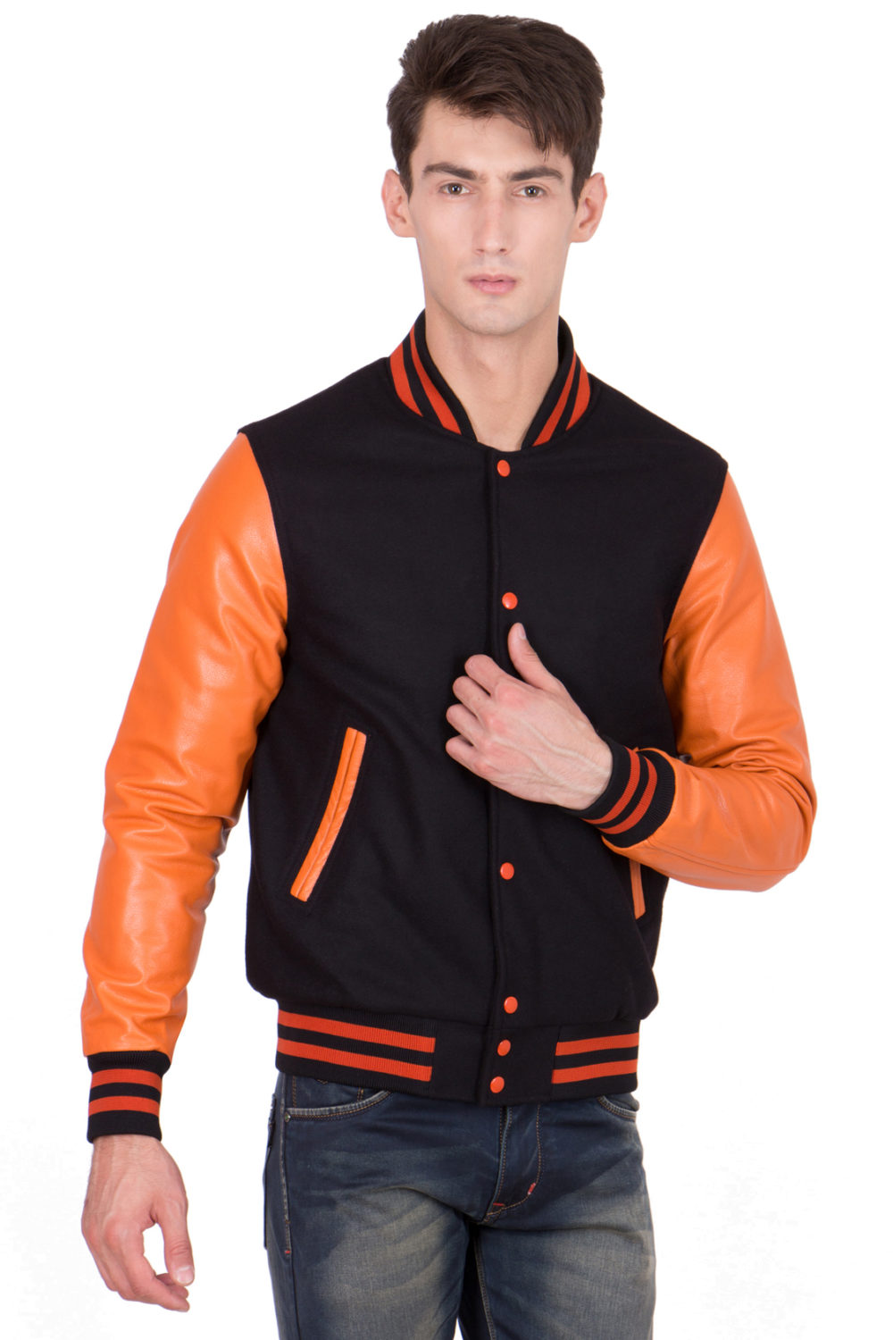 BURNT ORANGE LEATHER SLEEVES & BLACK WOOL BODY VARSITY JACKET-MEN