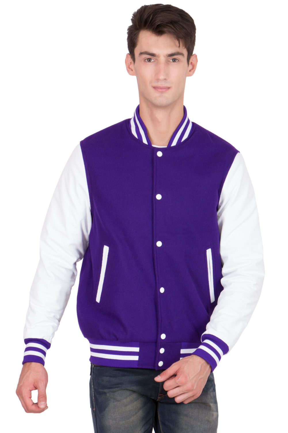 WHITE LEATHER SLEEVES & PURPLE WOOL BODY VARSITY JACKET-MEN