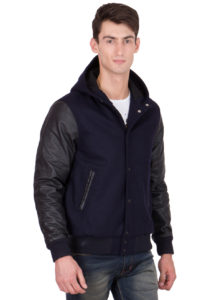 BLACK LEATHER SLEEVES & NAVY BLUE WOOL BODY HOOD VARSITY JACKET-MEN