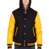 LEMON LEATHER SLEEVES & BLACK WOOL BODY HOOD VARSITY JACKET-MEN
