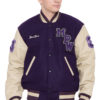 PARCHMENT LEATHER SLEEVES & PURPLE WOOL BODY VARSITY JACKET - MEN