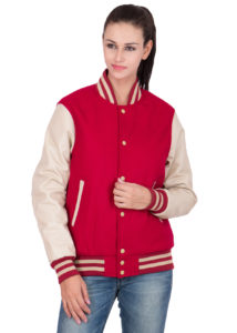 PARCHMENT LEATHER SLEEVES & SCARLET RED WOOL BODY VARSITY JACKET-WOMEN