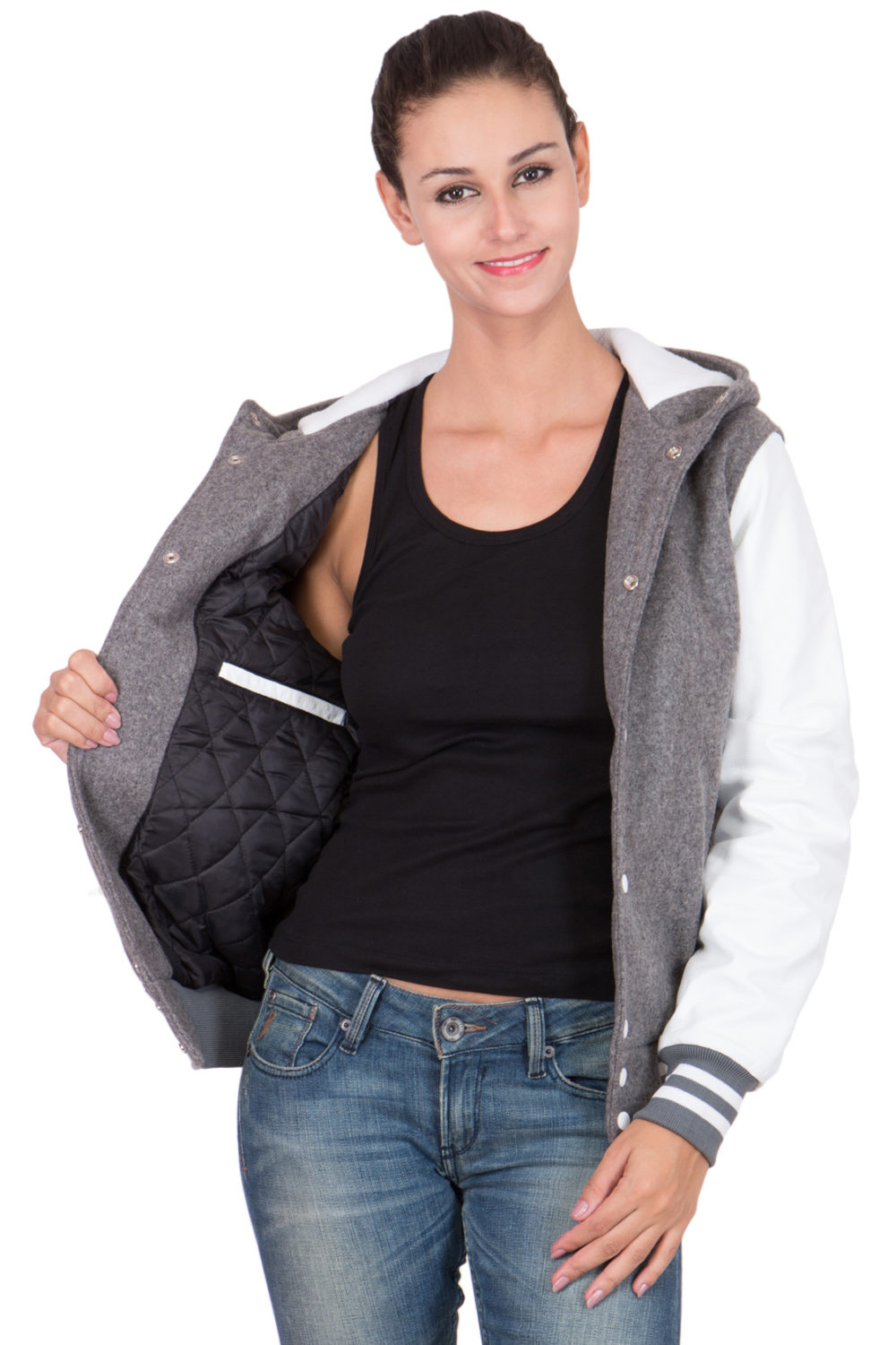 WHITE LEATHER SLEEVES & GREY WOOL BODY HOOD VARSITY JACKET-WOMEN