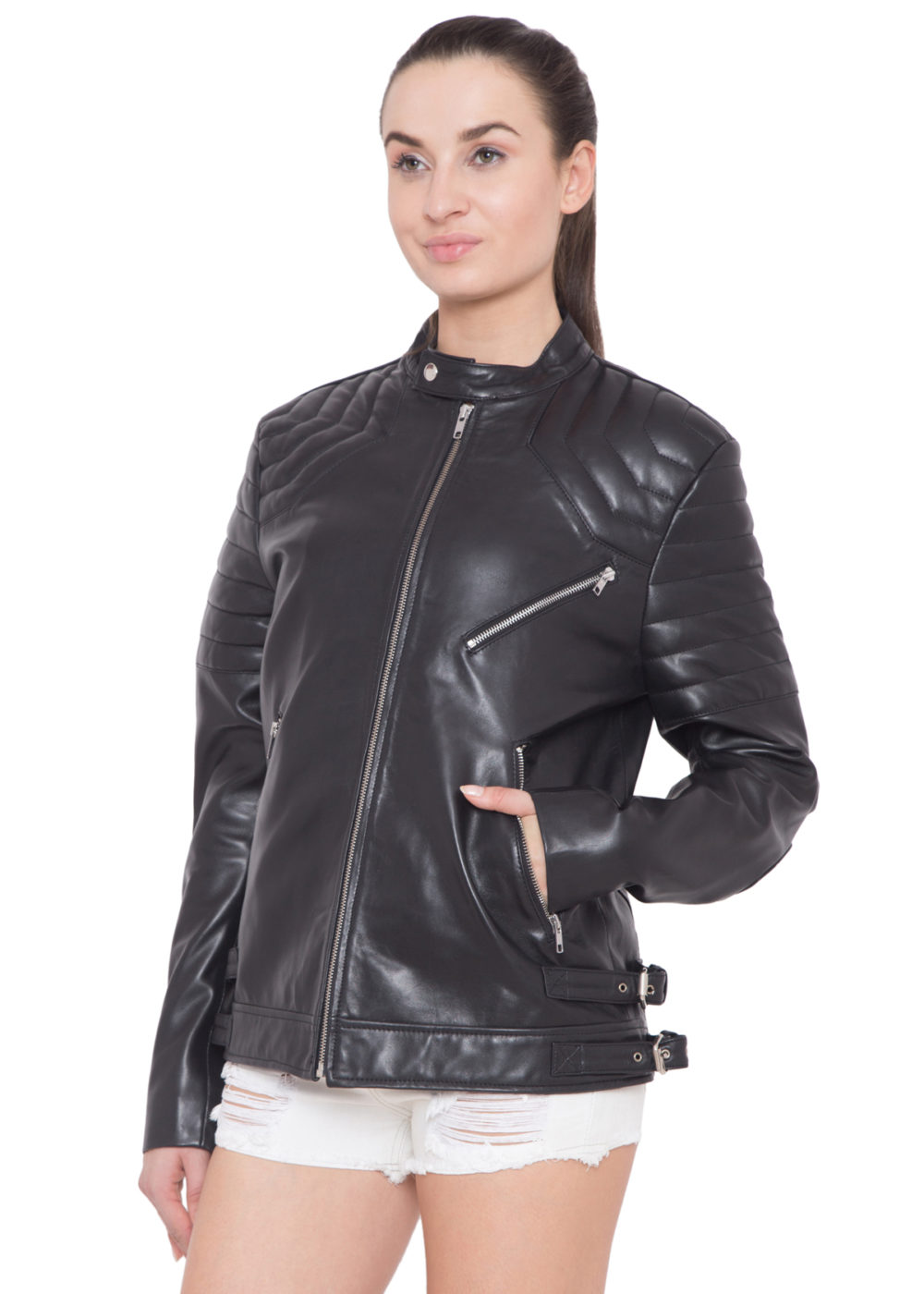 BLACK FULL LEATHER JACKET-WOMEN