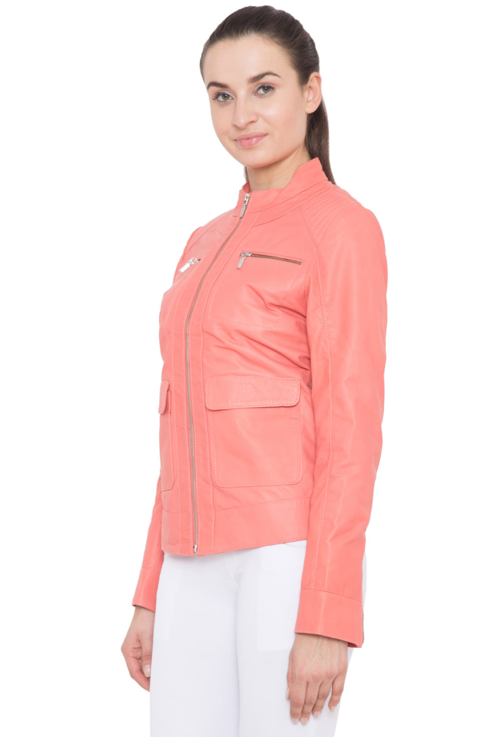 PINK FULL LEATHER JACKET-WOMEN