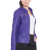 PURPLE FULL LEATHER JACKET-WOMEN