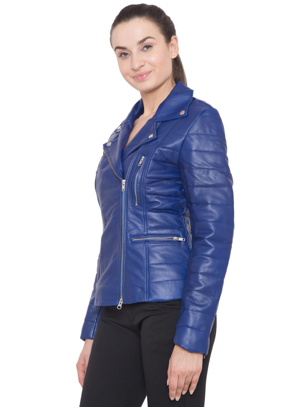 PURPLE BIKER FULL LEATHER JACKET-WOMEN