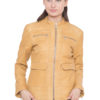 TAN YELLOW LEATHER JACKET - WOMEN