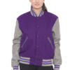 GREY SLEEVES & PURPLE BODY VARSITY JACKET - WOMEN